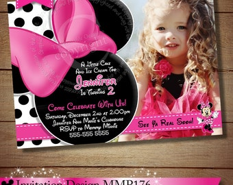 HUGE SELECTION Minnie Mouse Birthday Invitation, Pink Black Minnie Mouse Invitation, Polka Dot Minnie Invitation, The Printable Occasion