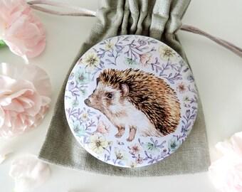 Hedgehog Pocket Mirror, Hedgehog Mirror, Animal Gift, Flower Pocket Mirror, Nature Illustrated Mirror, Stocking Filler, Hedgehog Gift