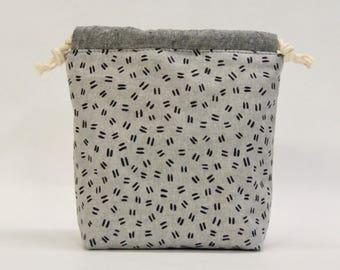 Dashes Titanium Small Drawstring Knitting Project Craft Bag - READY TO SHIP