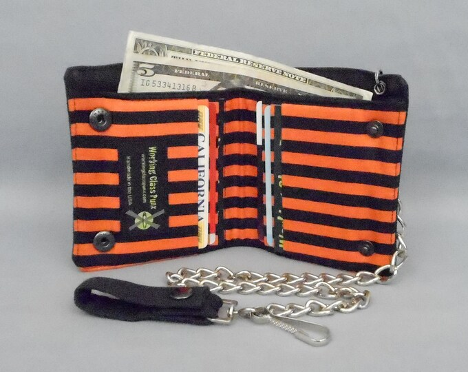 Halloween Vegan Chain Wallet, Black and Orange Stripe, Black Canvas, Detachable Chain, Fabric Pockets, Bi-fold Wallet