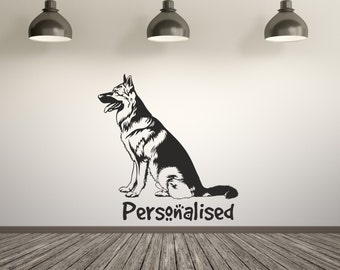 Personalized German Shepherd Pet Dog Wall Sticker Decal Art. Any colour and a choice of sizes.(#126)