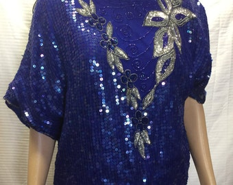 Sequin Top, Large, Royal Blue, Silver Beaded Trim, Royal Blue, Silver