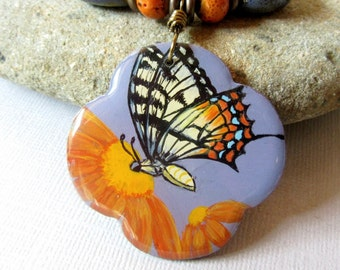 Swallowtail Butterfly Pendant, Butterfly Necklace, Orange Daisies Pendant, Purple and Orange Ceramic Beads, Resin Jewelry, Nature Jewelry