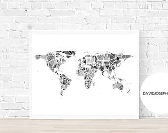 World Map Print, Minimalist Print, Black and White, Home Decor, Digital Print, Instant Download, Gift