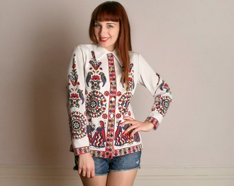 Vintage Novelty Print Blouse - 1970s Psychedelic Mexican Mosaic Scene Top - Medium Large