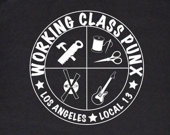 Punk Tshirt Working Class Punx Union T-shirt, Black and White Silkscreen, Punk Shirt, Rock T-Shirt, Working Class Punk