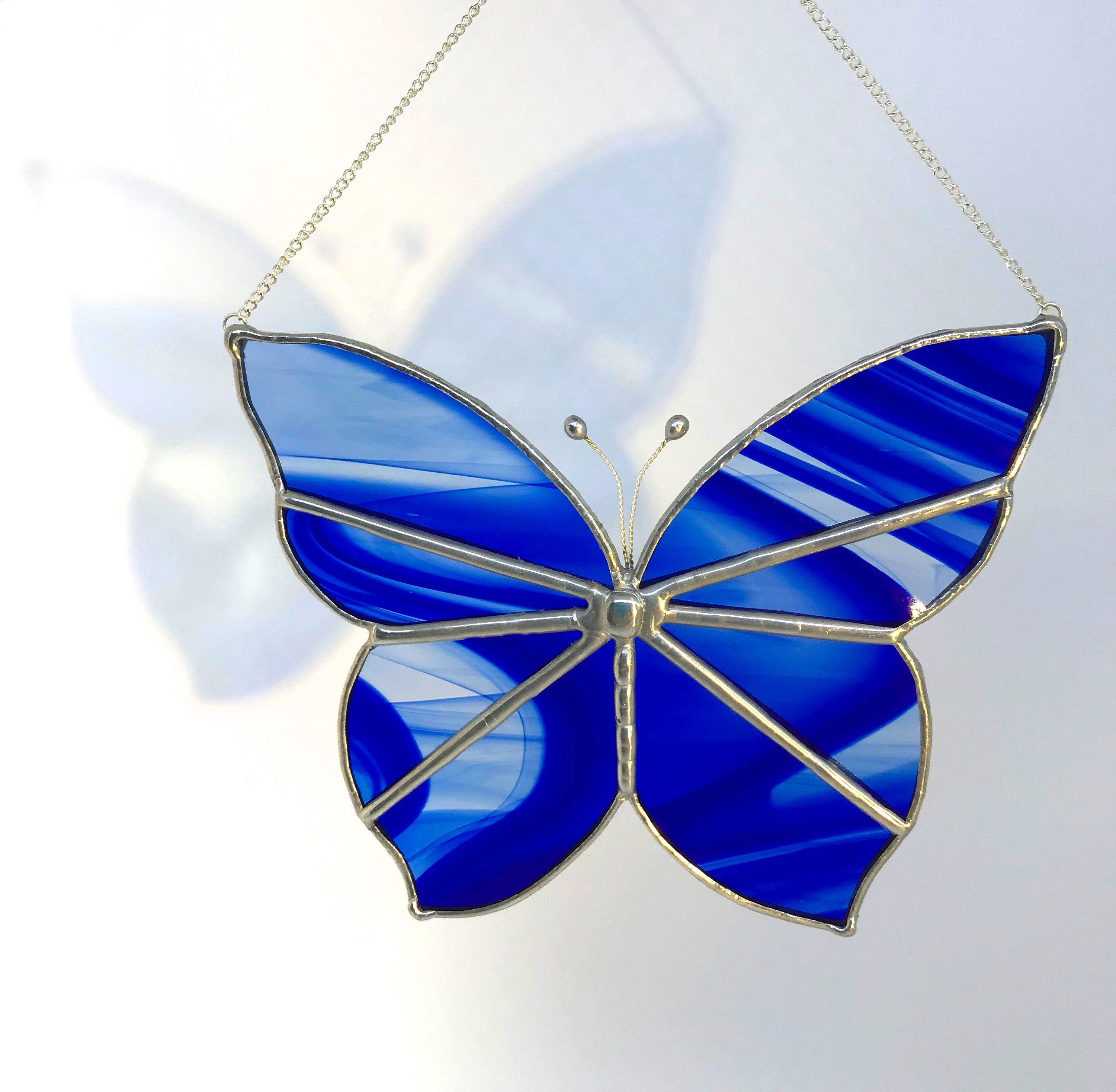 Majestic Royal Blue Butterfly Stained Glass Suncatcher Wall Decoration,  Birthday Ornament, Home Decor, Housewarming Present