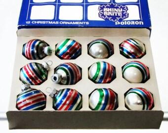 60s Boxed Shiny Brite Ornaments Multi Color Stripe 12