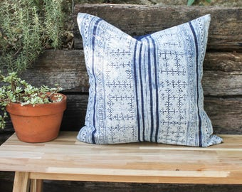 Indigo Batik Throw Pillow; handwoven hemp; 20x20
