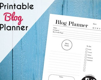 Printable Blog Planner - Blog Organization - Blog Kit - Blog Post Plan - Blog Printable - Social Media Planner - A4 & 8.5 x 11 - Black