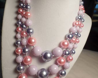 1950's Bead Necklace with Soft Pastel Colors Signed Japan