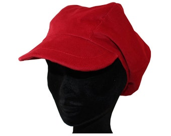 Newsboy cap in fine red corduroy canvas