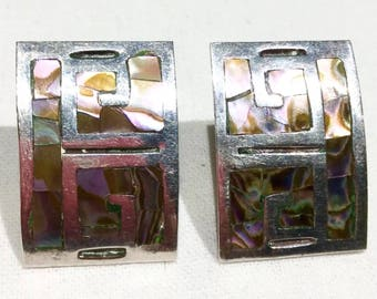 vintage TALLERES de los BALLESTEROS TAXCO mexico abalone shell inlay sterling silver  earrings screw back
