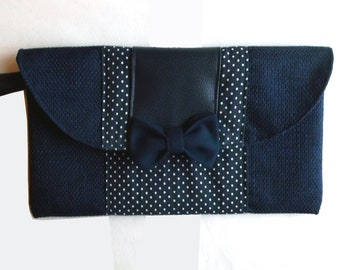 Navy Blue clutch with white polka dots, faux leather and woven strap