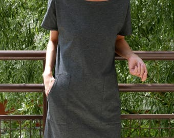 DIANA - cotton tunic - mini dress with pockets / simple / tunic dress / dress with pockets /  summer dress / sisters / grey tunic /