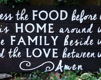Wood Sign, Stained Wood Sign, Reclaimed Wood Sign Blessed