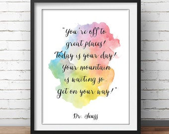 """Dr Seuss Quote Poster """"You're off to great places!"""" Kids Room Wall Art Nursery Decor Print Watercolor Children's Wisdom Inspirational"""