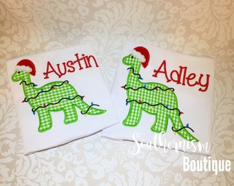 Christmas Shirt, Dinosaur Christmas Shirt, gingham Christmas shirt, boys Christmas shirt, shirt with name, personalized, custom embroidery