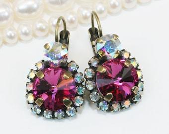 Fuchsia Pink Crystal Earrings Swarovski Drop Magenta Bridal Earrings Bridesmaids Gift AB Halo Earrings Fuchsia wedding,Brass,Fuchsia,BE102