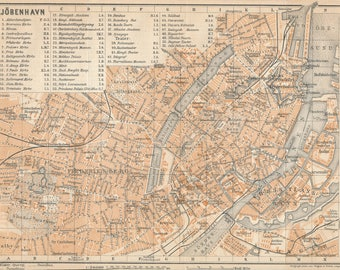 1929 Copenhagen Denmark Antique Map