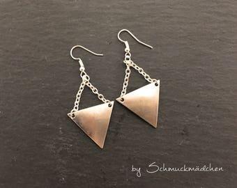 Ear ringer earrings silver triangle