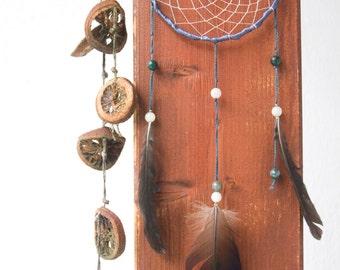 Dreamcatcher - Teal purple silver thin dreamcatcher, feather, malachite beads