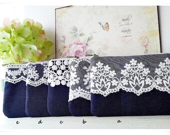 Bridesmaid small lace purse navy blue purse white ivory lace wedding gift