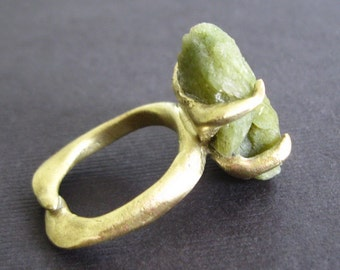 Raw Green Stilbite Bronze Ring Byzantine Medieval Game of Thrones Lost Treasure
