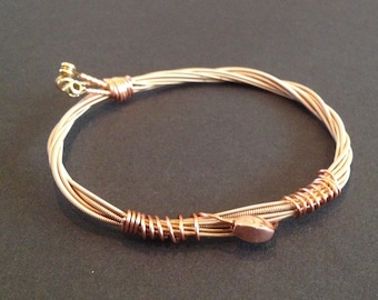 Recycled Acoustic Guitar String Bracelet/Bangle: with bronze bead.