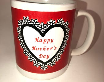 Happy Mothers Day Coffee Cup; Coffee Mug; Red and White Coffee Cup/Mug; vintage Mothers Day