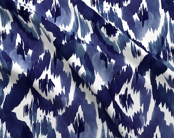 Blue Ikat Fabric - Indigo Blue Ikat Diamonds By Crystal Walen - Ikat Cotton Fabric By The Yard With Spoonflower