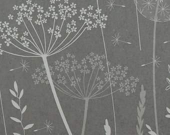 SAMPLE / Dark Grey Floral Wallpaper / Paper Meadow / Charcoal / Dandelion, Cow Parsley, Grasses / Hannah Nunn