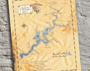 Grand Lake O' the Cherokees, Oklahoma, Vintage Inspired Lake Map Print. Personalizable Lake Art and Cottage Decor. Great Housewarming Gift!