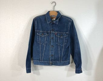 70's 80's vintage levi's indigo denim jean trucker jacket size 20