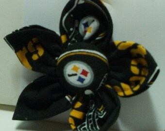 Dog Collar, Dog Collars, Steeler Flower Bow,  Dog Collar Accessory, Sports Apparel for Dogs, Dogs Sports Apparel, Pet Accessory