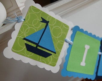 It's A Boy Banner, Sailboat It's A Boy, Nautical, Baby Shower, Blue and Green