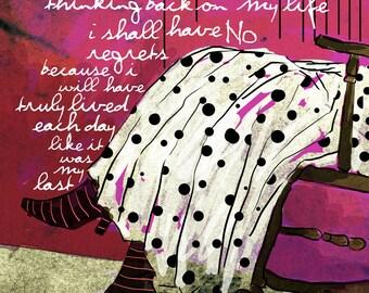 No Regrets... / original illustration ART Print SIGNED / 8 x 10