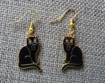 Enamel Black Cat Earrings