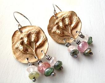 bronze succulent flower earrings : botanical jewelry - flower jewelry - gemstone jewelry - tranquility