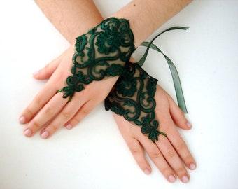 Green lace gloves, Emerald wedding gloves bridal wedding gloves Damask lace green fingerless gloves