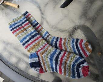 Hand knit man's or woman's striped socks
