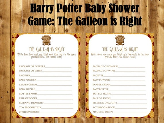 Harry Potter Baby Shower Game Pack Harry Potter Games Harry