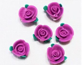 FF-137 Petite, Dark Violet, Polymer Roses
