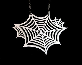 Oh What a Tangled Web We Weave Necklace - SMALL - Spider Webs Necklace - Laser Cut Acrylic (C.A.B. Fayre Original Design)