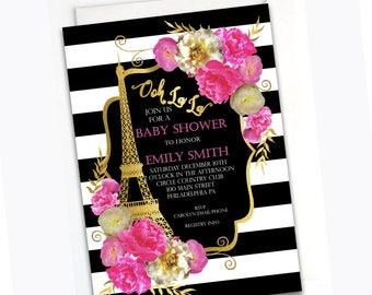 Paris Baby Shower Invitation- Custom Paris Shower Invite, Floral Parisian Baby Shower