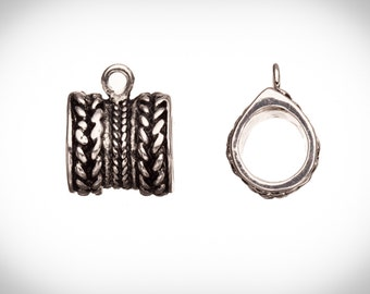 2pcs Rope texture bead with ring Licorice charms fits Licorice leather antique silver-plated fits 10x10.5mm cord, 22x17mm