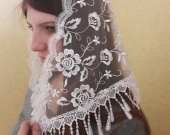 Chapel veil Lace white mantilla Soft and Light Shawl Wrap Fringe Rose Trim