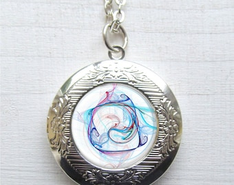 Fractal Swirl Locket - Swirl Art Jewelry - Artsy Swirl Necklace