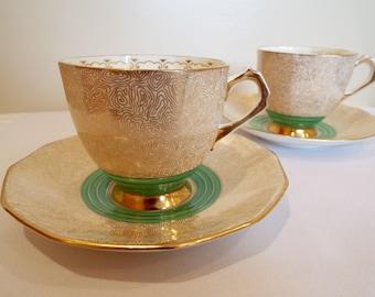 Vintage Tuscan Teacup. English Art Deco Tea Cup and Saucer With Green And Gold Pattern. Perfect For Christmas Tea Or A Vintage Tea Party!