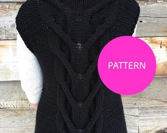 PATTERN ONLY ** Vest friends Foreva knit vest, Cable knit vest, knit vest, long knit vest, knit vest pattern, long knit vest pattern